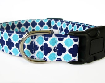 Aqua and navy dog collar & cat collar - adjustable with bell (optional), Moroccan pattern