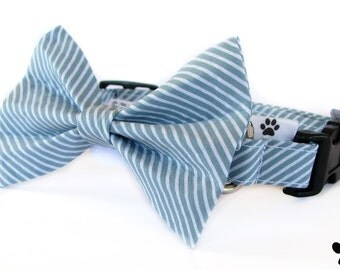 Grey blue stripe dog bow tie collar set & cat bow tie collar set - adjustable with bell (optional), formal, diagonal