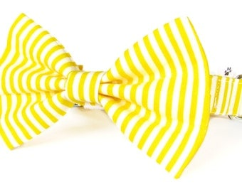Yellow striped cat bow tie collar set & dog bow tie collar set - adjustable with bell (optional)