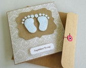baby boy gift card. baby shower card. gift card. baby feet. newborn gift card. baby shower. gift card. handmade card. greeting card