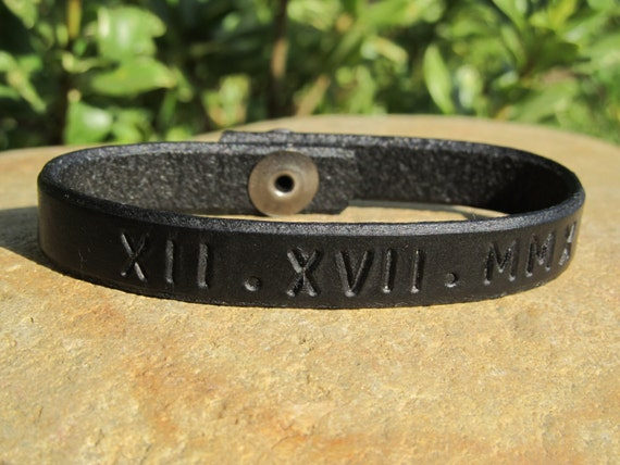 Mens Leather Bracelet Cuff Custom Roman Numeral By