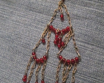 Awesome 1970's Chain and Bead Earrings Shoulder Dusters