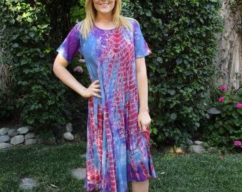 Summer Dress, Tie Dye Dress, Boho Dress, Hippie Clothing, Cotton Gauze Dress, Blue, Purple, Red S M L XL Short Sleeve