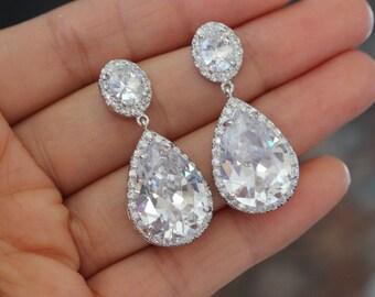 clear ab bridal earring , bridal drop earring   , cz earring , cubic zirconia earring , wedding earring