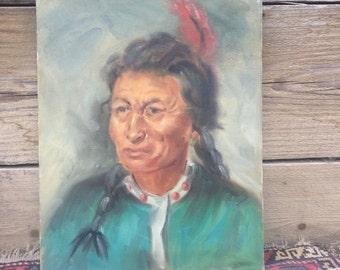 SALE! Vintage Navajo portrait Painting Acrylic? Oil? on canvas American Indian Decor Interior design Native American americana Southwestern