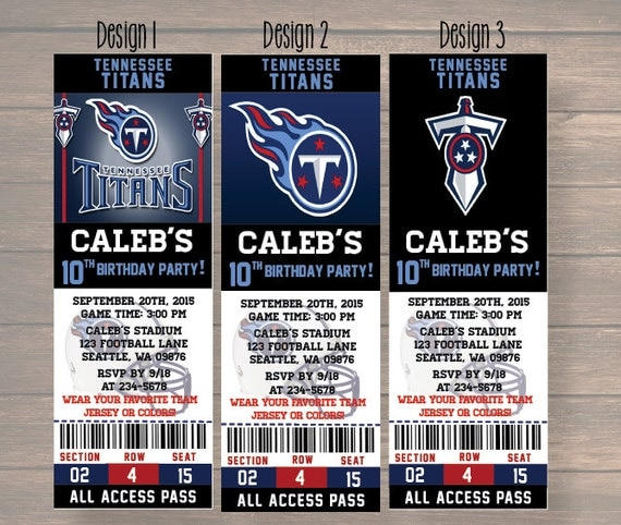 Tennessee Titans Birthday Invitation, Football, Ticket Invitation