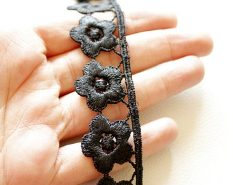 Black Embroidered Flower Lace Trim Approx 26mm wide - 030315L109