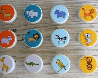 Nursery Drawer Knobs, Colorful dresser knobs - Colorful Safari Animals Knobs-  Set of 12 - MADE TO ORDER
