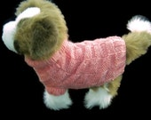 Hand knitted    Dog clothes, Small unisex dog  Winter pet coat or jumper in   peach  with a polo neck Sizes ( XXXS - XXL )