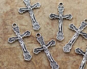 10 Cross Charms Cross Pendants Antiqued Silver Tone 20 x 30 mm
