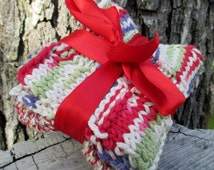 Handmade Knitted Dish Cloths made of 100% Cotton Set of 2 - Red tan white green purple coloring