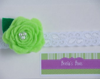 Green Newborn-6mos Felt Flower Headband