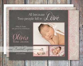Baby Girl Birth Announcement - Pink Love