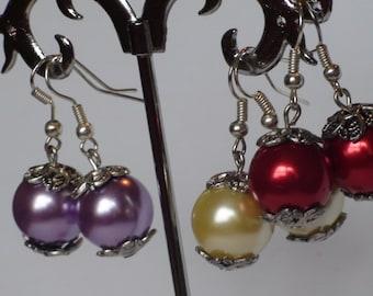 Clearance Three pairs of earrings Handmade earrings Dangle earrings Women's jewelry Pearl earrings Wedding jewelry Wedding earrings