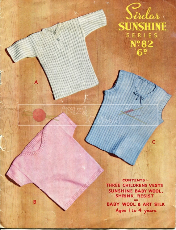 Children's Vests 1-4 years 3-ply Sirdar Sunshine Series 82 Vintage Knitting Pattern PDF instant download