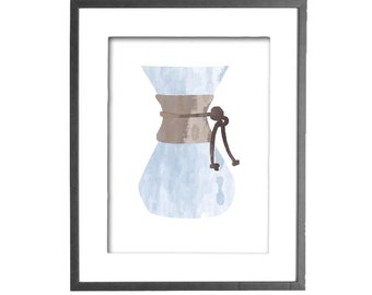 Chemex Coffee Maker in Watercolor Effect - INSTANT DOWNLOAD - Printable Wall Art