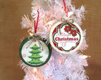 Mason Jar Ring Lid Christmas Tree Ornament, Upcycled Cards & Paper, White Country Christmas Home Decor, Green Rustic Holiday Tree Decor