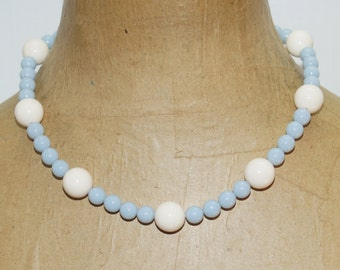 "Trifari Baby Blue Cream Off White Plastic Beads 17""  Necklace"