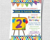 Art Themed Birthday Party Invitation - Art Painting Birthday Party - Digital Design or Printed Invitations - FREE SHIPPING