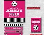 Girl Soccer Printable Birthday Party Kit - Pink Girl Soccer Birthday Party - DIGITAL DESIGN