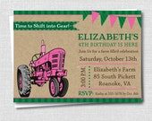 Pink Tractor Birthday Party Invitation - Girl Tractor Birthday Party - Digital Design or Printed Invitations - FREE SHIPPING