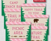 Printable Girl Camping Party Signs - Girl Camping Themed Birthday - Set of Five Party Signs