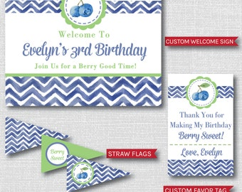 Blueberry Themed Birthday Printable Party Package - Blueberry Birthday Party Decor - DIGITAL DESIGN