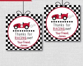 Boy Race Car Birthday Party Favor Tags - Boy Race Car Themed Birthday - Digital Design or Handcrafted Tags - FREE SHIPPING