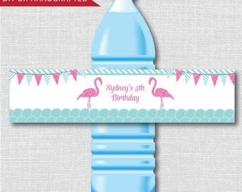 Flamingo Party Water Bottle Labels - Flamingo Birthday Party - Weatherproof Water Bottle Labels - Digital or Handcrafted - FREE SHIPPING