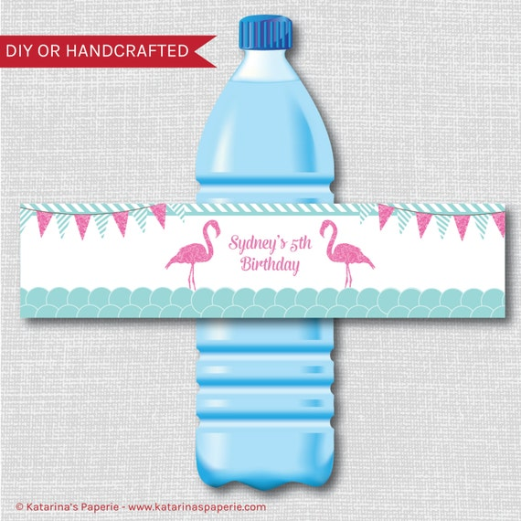 Water Bottle Name Tags: Flamingo Party Water Bottle Labels Flamingo Birthday Party