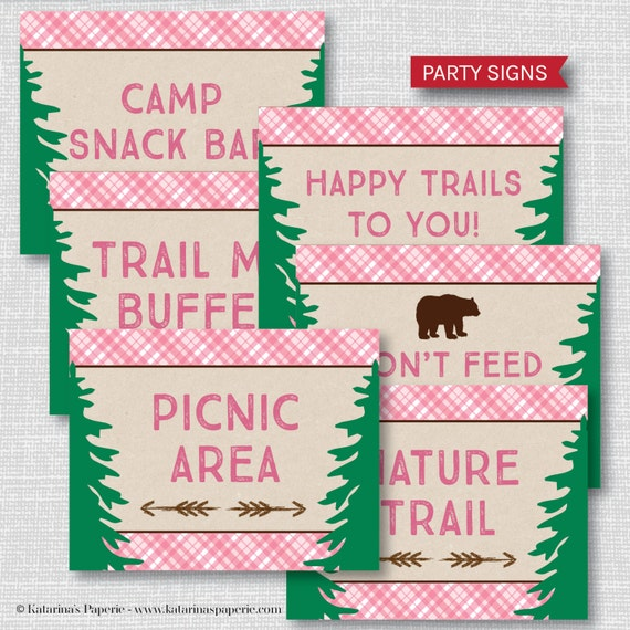 Printable Girl Camping Party Signs Girl Camping Themed