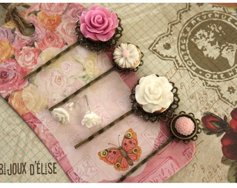 4 pcs Antique Bronze Hair Pins with White and Pink Flower Cabochon - Gift (HP6)