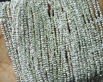 1 Strands of Silver Pyrite Roundel Micro Faceted 2.5 mm