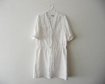 SALE. White linen dress. Womens linen summer dress