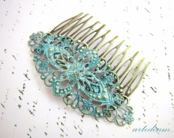 Bridal Hair comb Blue vintage style Verdigris Turquoise Wedding hair comb hair accessory Garden wedding hair decoration Pale blue green comb