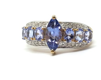 1.75ctw Marquise & Oval Tanzanite with .10ctw Round Diamond 10k Yellow Gold Ring Size 8