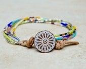 6 Strand Delica Bead Bracelet. Boho. Sterling . Leather . Glass . Wedding Gift .Bracelet. Boho .