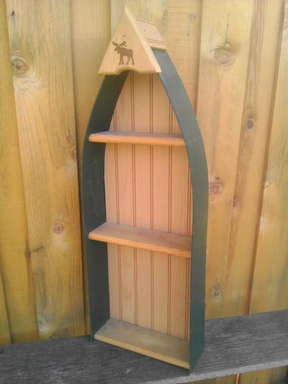 vintage canoe bateau bois tag re tag res livres. Black Bedroom Furniture Sets. Home Design Ideas