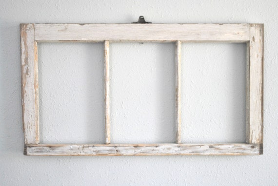 distressed chippy white reclaimed window frame three 8 x 12 openings re purposed