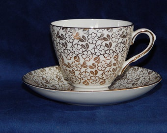 Royal Tauton Bone China Gold Leaf Teacup and Saucer set