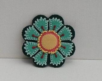 Hand Made Brooch Felted Wool Appliqued & Embroidered Teal and Dark Green Flower