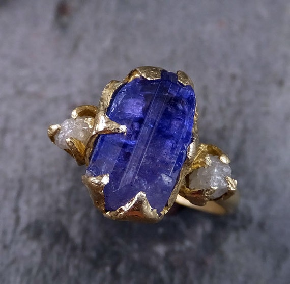 Raw Diamond Tanzanite Crystal Gemstone 14k Gold By ByAngeline