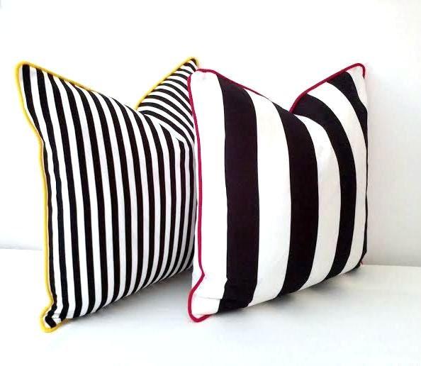 Black And White Striped Throw Pillows : Black and White Striped Throw Pillow Cover 16 by