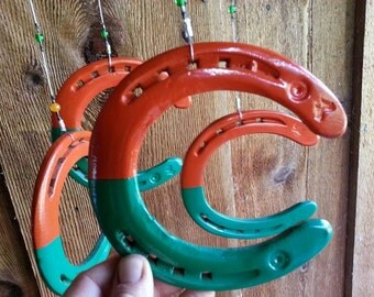 Wind Chime- Orange & Green Recycled Horse Shoes