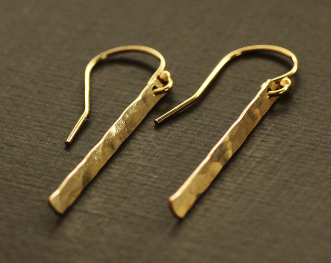 Gold Bar Earrings - 14K Gold  Fill - Gold Stick Earrings