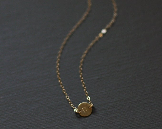 Tiny Gold Initial Necklace - 14K Gold Filled Personalized Initial Necklace - Customized necklace