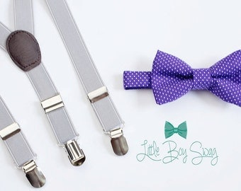 Purple Polka Dot Bow Tie and Light Gray Suspenders..Kids Clothing..Bow tie and Suspenders Set..Boys wedding outfit..Ring Bearer Outfit