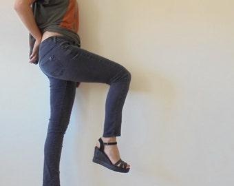 Vintage Black Jeans  Long Jeans.Women Jeans.Mango.