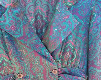 Womens Silk Liz Claiborne Dress Purple Paisley Print - apx. XLarge
