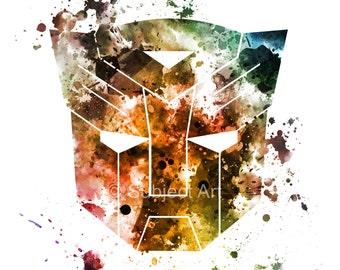 Transformers Emblem ART PRINT illustration, Autobots, Optimus Prime, Home Decor, Wall Art